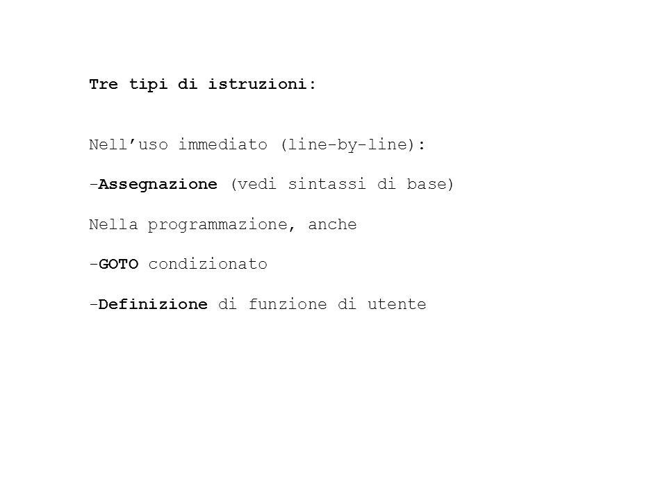 Tre tipi di istruzioni: