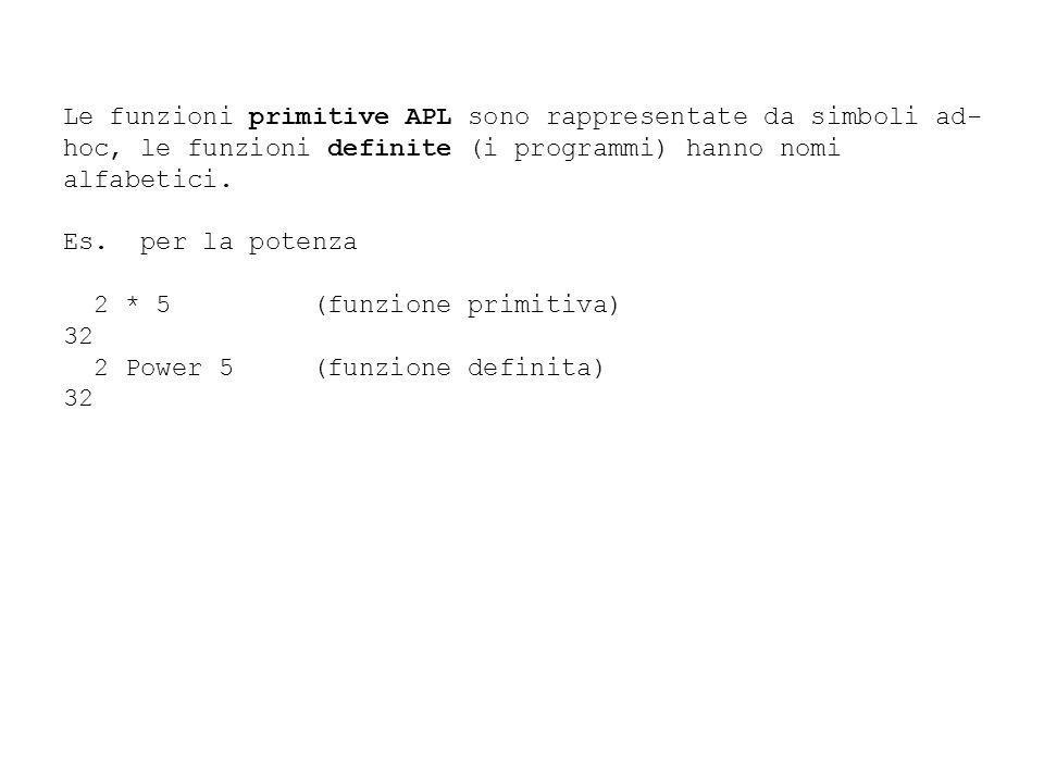 Le funzioni primitive APL sono rappresentate da simboli ad-hoc, le funzioni definite (i programmi) hanno nomi alfabetici.
