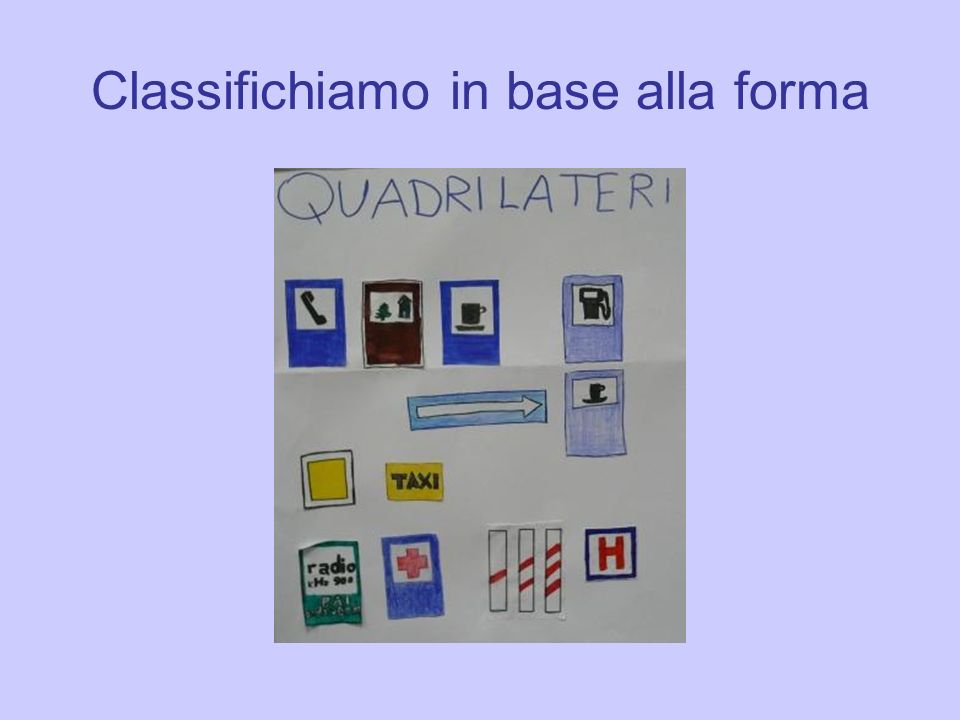 Classifichiamo in base alla forma