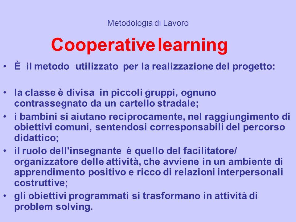 Metodologia di Lavoro Cooperative learning. È il metodo utilizzato per la realizzazione del progetto: