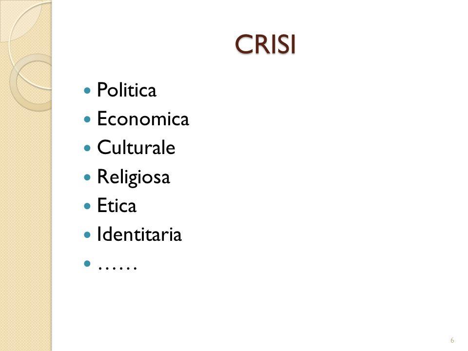 CRISI Politica Economica Culturale Religiosa Etica Identitaria ……