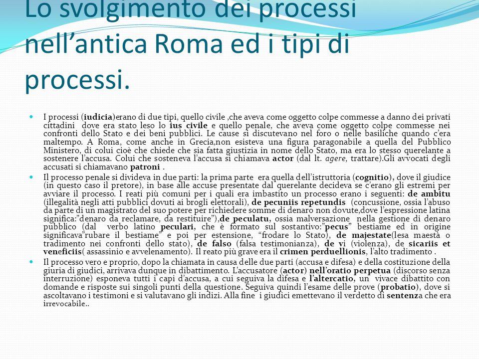 Lo svolgimento dei processi nell'antica Roma ed i tipi di processi.