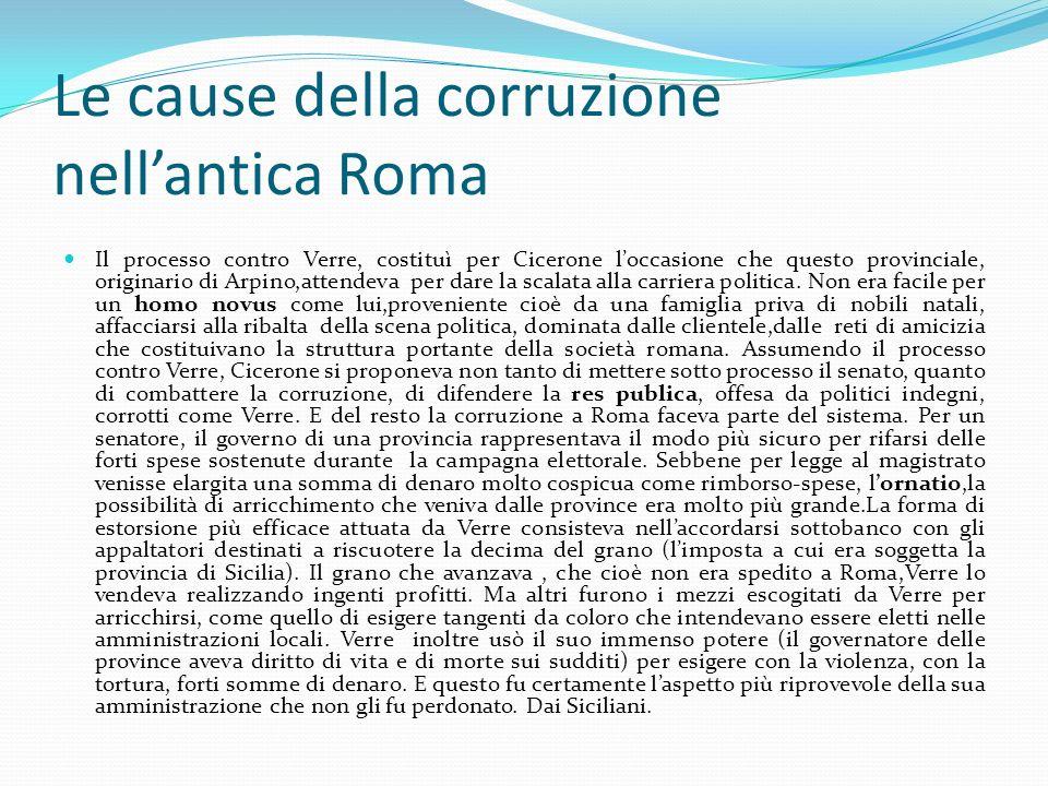 Le cause della corruzione nell'antica Roma