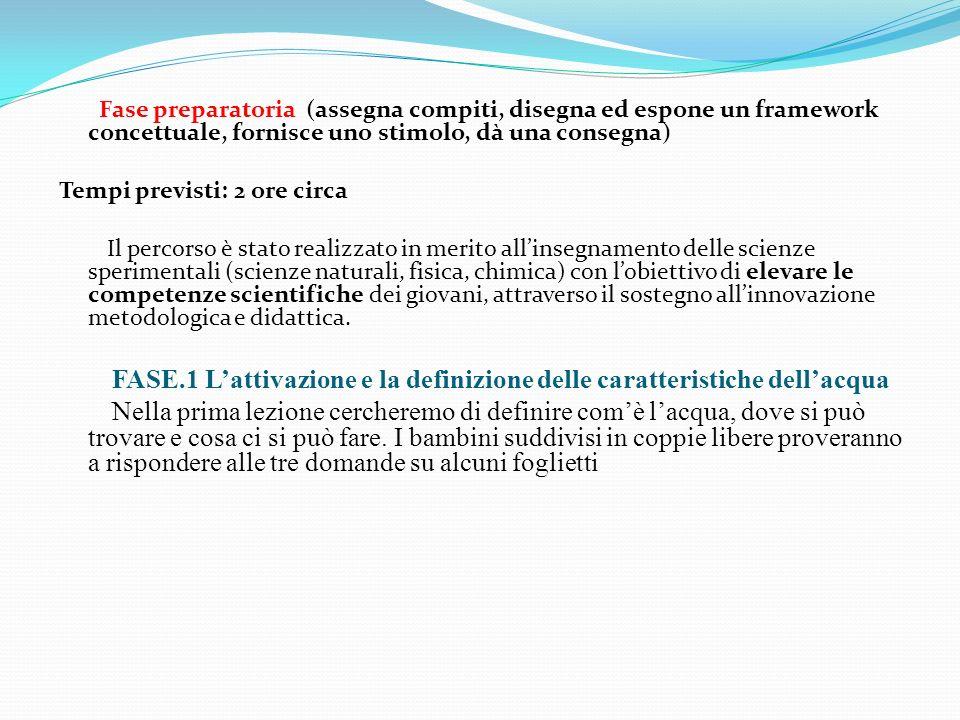 FASE.1 L'attivazione e la definizione delle caratteristiche dell'acqua