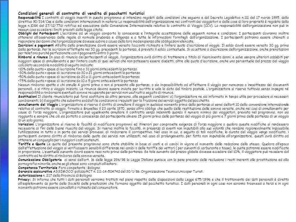 Condizioni generali di contratto di vendita di pacchetti turistici