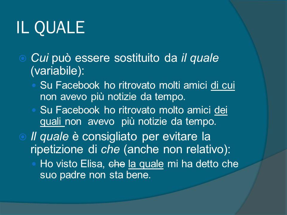 IL QUALE Cui può essere sostituito da il quale (variabile):