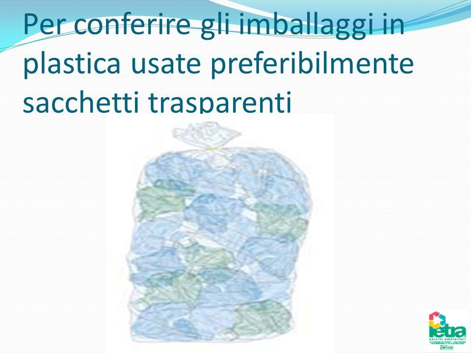 Per conferire gli imballaggi in plastica usate preferibilmente sacchetti trasparenti