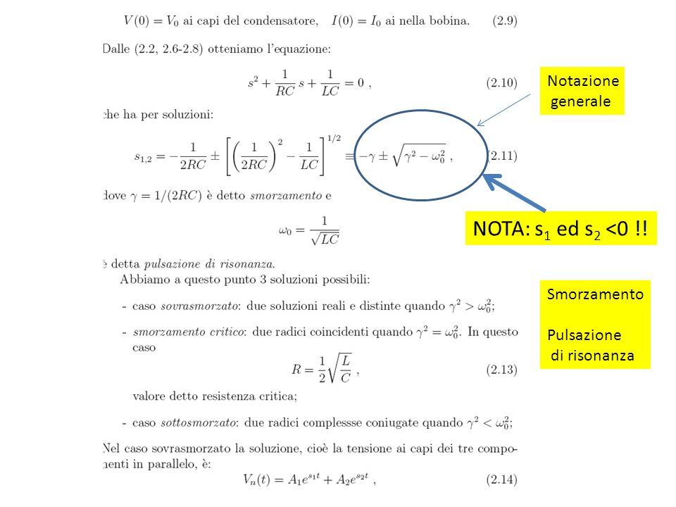 NOTA: s1 ed s2 <0 !! Notazione generale Smorzamento Pulsazione