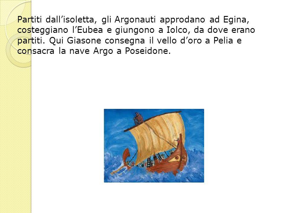 Partiti dall'isoletta, gli Argonauti approdano ad Egina, costeggiano l'Eubea e giungono a Iolco, da dove erano partiti.