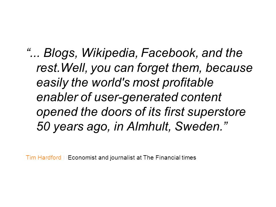 . Blogs, Wikipedia, Facebook, and the rest