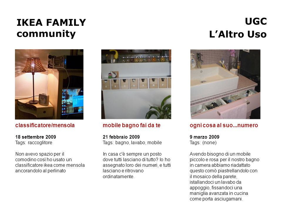 IKEA FAMILY community UGC L'Altro Uso classificatore/mensola