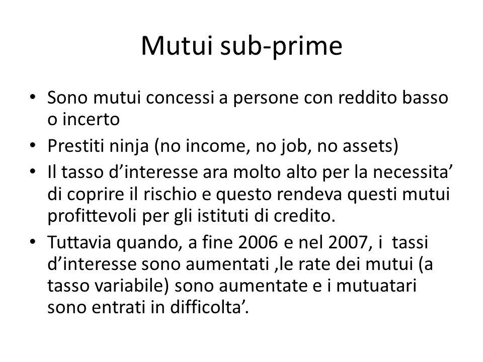 Mutui sub-prime Sono mutui concessi a persone con reddito basso o incerto. Prestiti ninja (no income, no job, no assets)