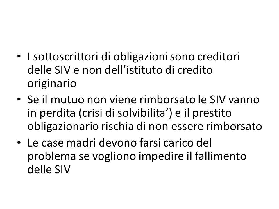 I sottoscrittori di obligazioni sono creditori delle SIV e non dell'istituto di credito originario