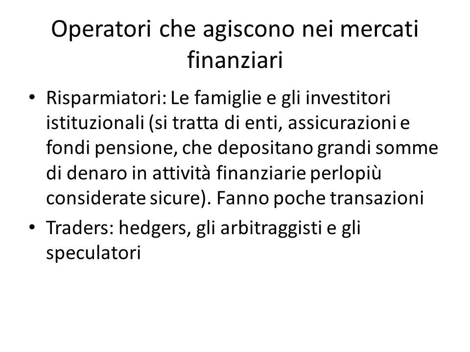 Operatori che agiscono nei mercati finanziari