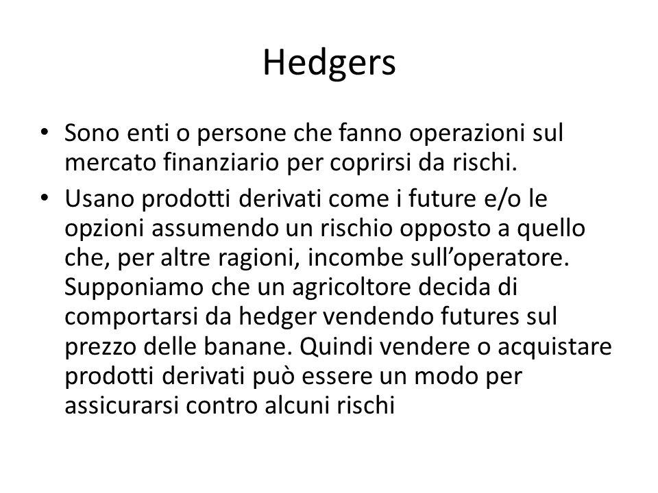 Hedgers Sono enti o persone che fanno operazioni sul mercato finanziario per coprirsi da rischi.