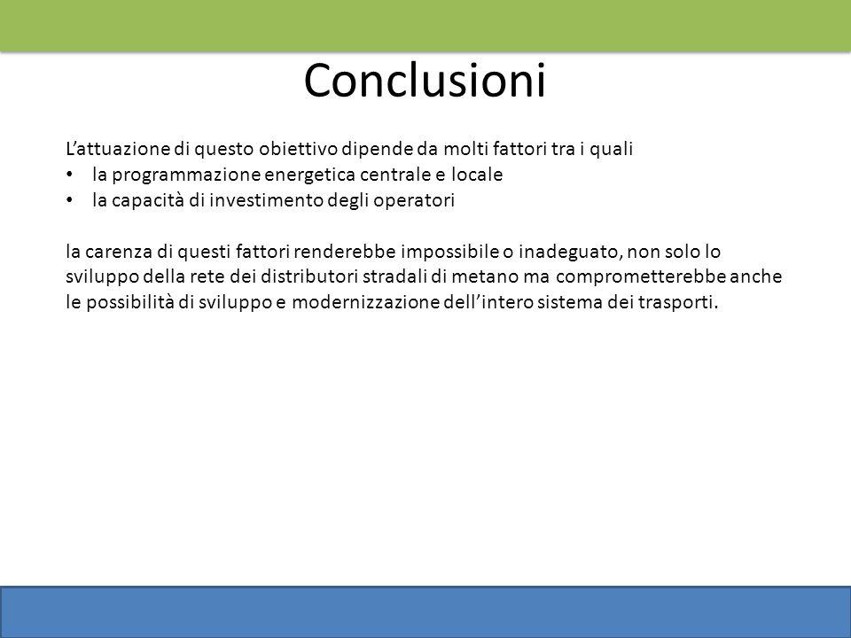 Conclusioni L'attuazione di questo obiettivo dipende da molti fattori tra i quali. la programmazione energetica centrale e locale.