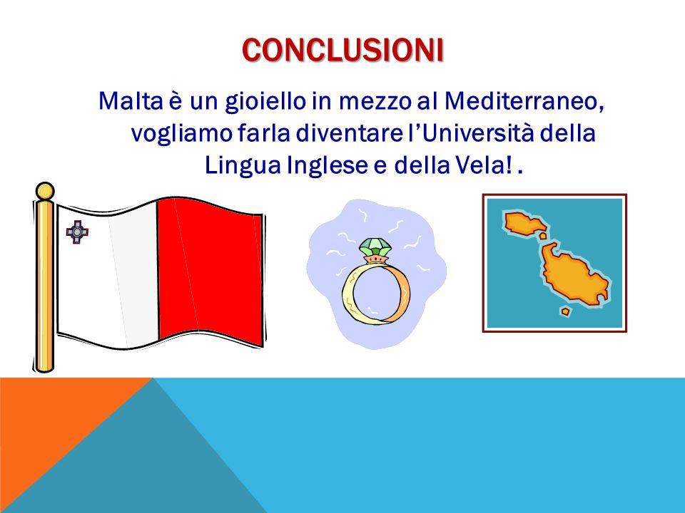 ConclusionI Malta è un gioiello in mezzo al Mediterraneo, vogliamo farla diventare l'Università della Lingua Inglese e della Vela! .