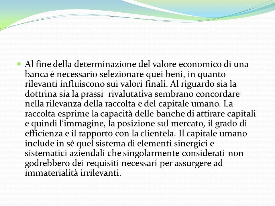 Al fine della determinazione del valore economico di una banca è necessario selezionare quei beni, in quanto rilevanti influiscono sui valori finali.