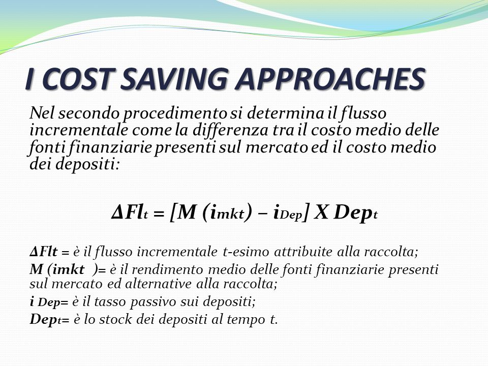 I COST SAVING APPROACHES