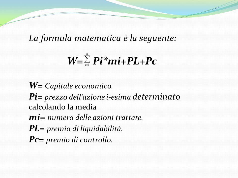 La formula matematica è la seguente: