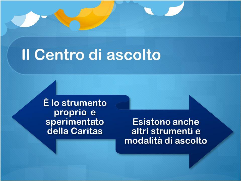 Il Centro di ascolto È lo strumento proprio e sperimentato della Caritas.