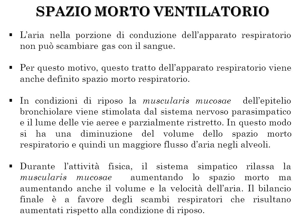 SPAZIO MORTO VENTILATORIO