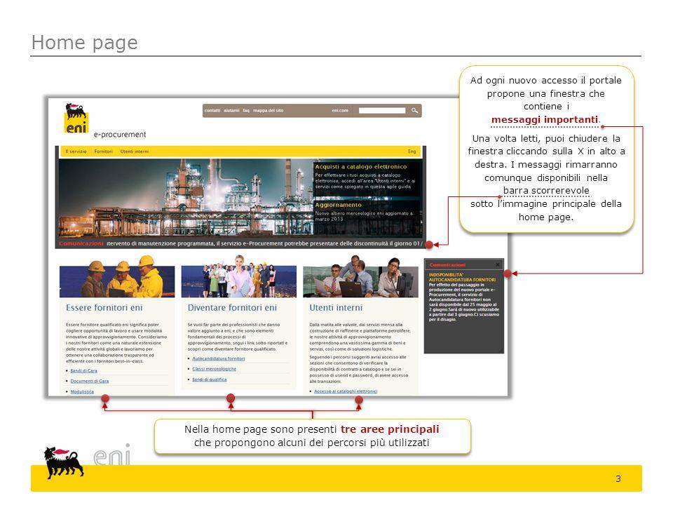 Home page Ad ogni nuovo accesso il portale propone una finestra che contiene i. messaggi importanti.