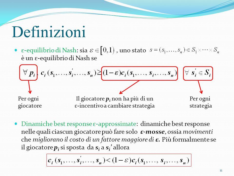 Definizioni ε-equilibrio di Nash: sia , uno stato è un ε-equilibrio di Nash se.