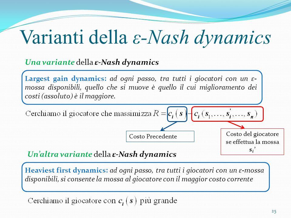 Varianti della ε-Nash dynamics