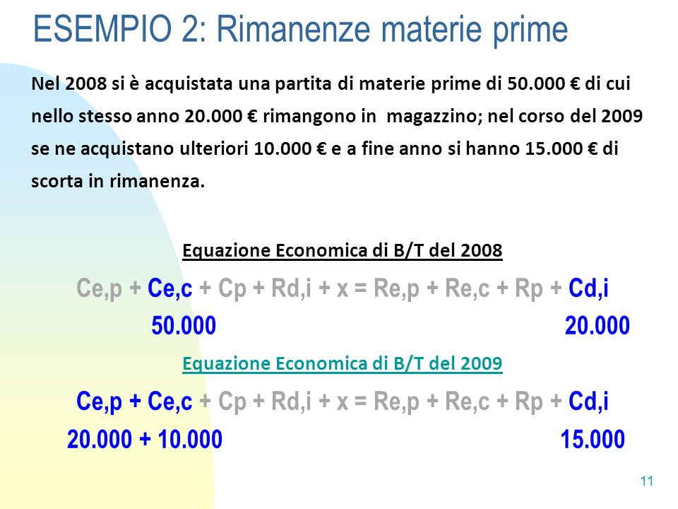 ESEMPIO 2: Rimanenze materie prime