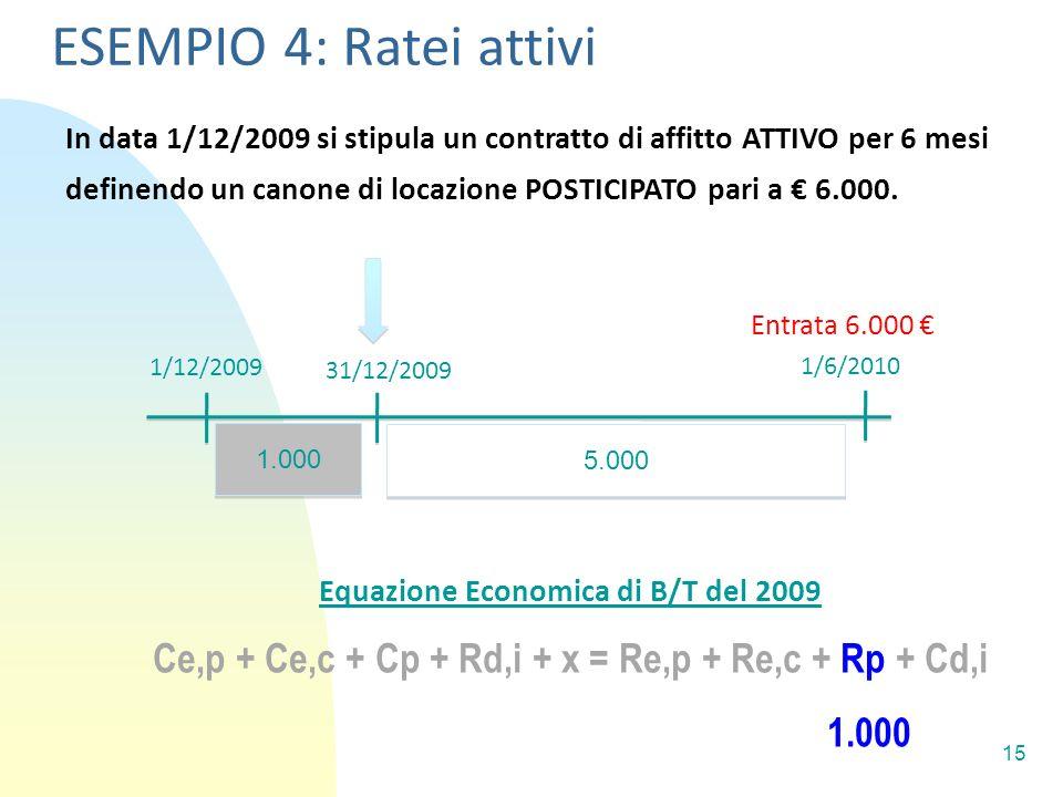 ESEMPIO 4: Ratei attivi