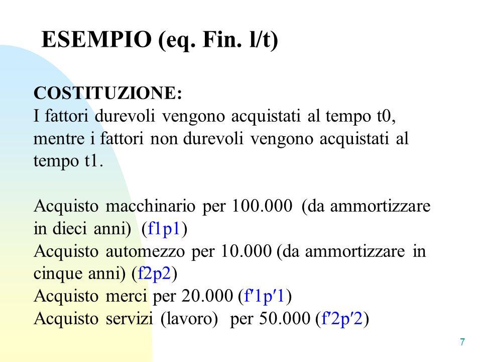 ESEMPIO (eq. Fin. l/t) COSTITUZIONE: