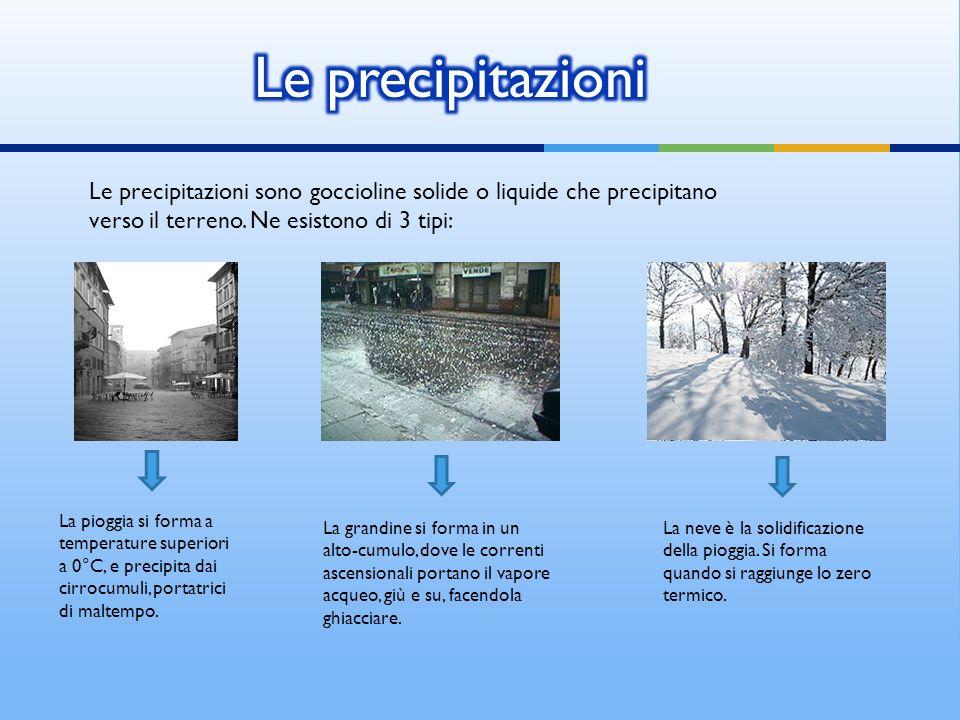 Le precipitazioni Le precipitazioni sono goccioline solide o liquide che precipitano verso il terreno. Ne esistono di 3 tipi: