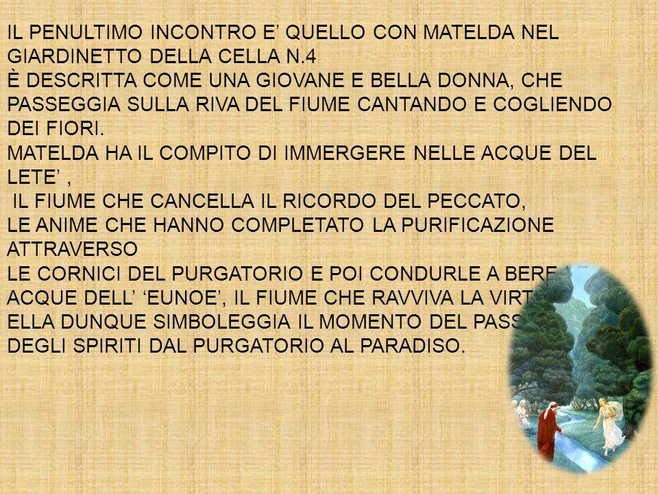 IL PENULTIMO INCONTRO E' QUELLO CON MATELDA NEL GIARDINETTO DELLA CELLA N.4