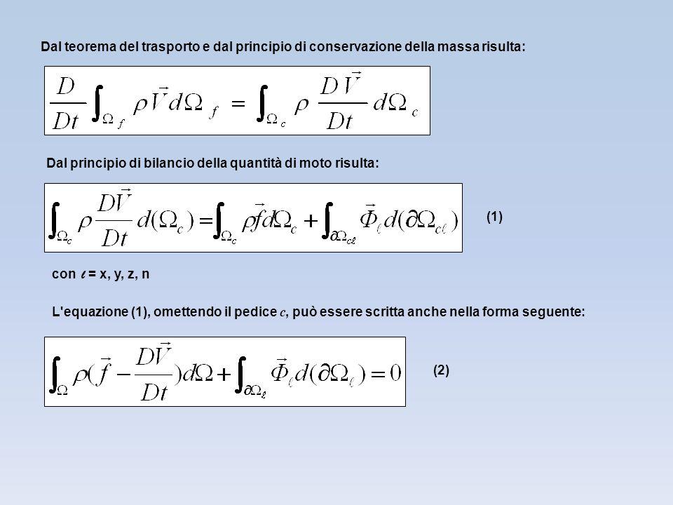 Dal teorema del trasporto e dal principio di conservazione della massa risulta:
