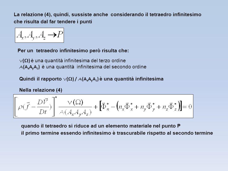La relazione (4), quindi, sussiste anche considerando il tetraedro infinitesimo che risulta dal far tendere i punti