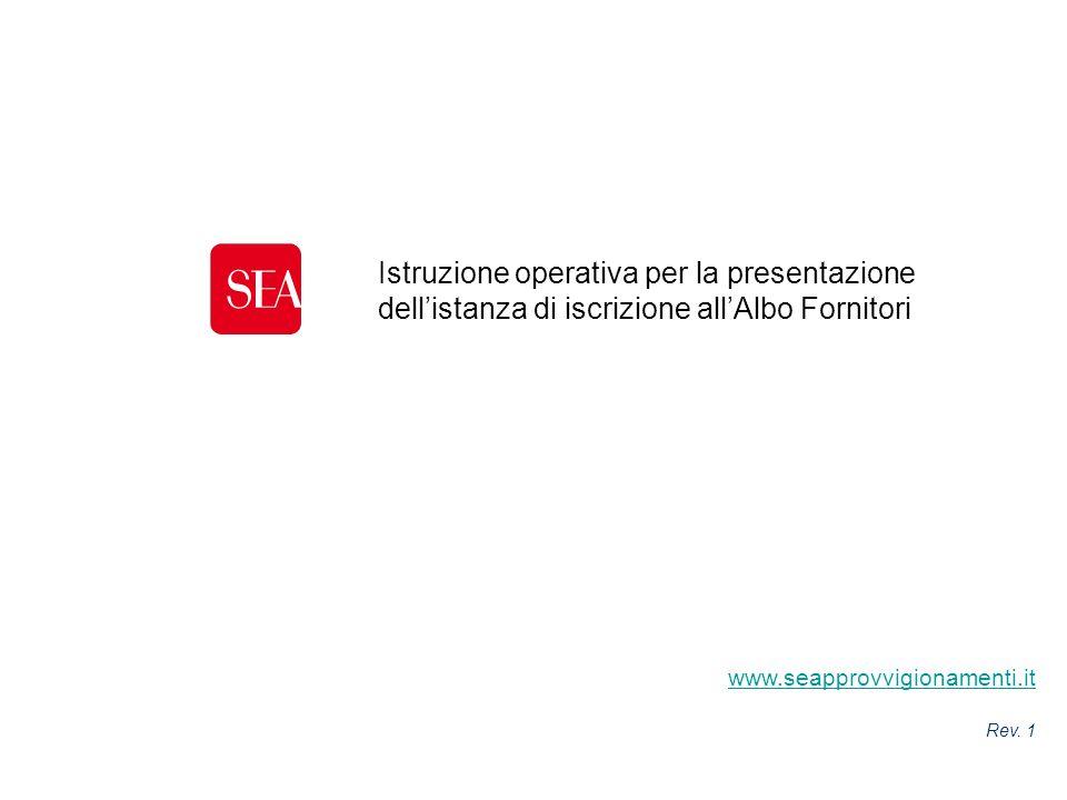 Istruzione operativa per la presentazione dell'istanza di iscrizione all'Albo Fornitori