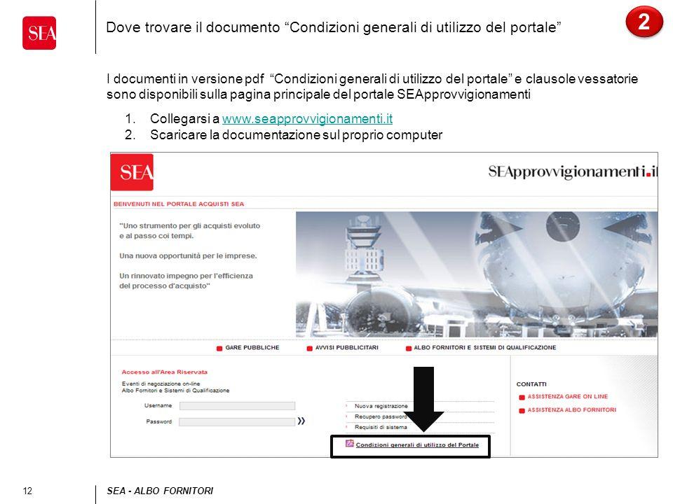 2 Dove trovare il documento Condizioni generali di utilizzo del portale