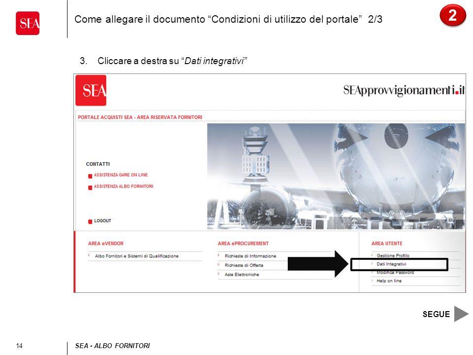 Come allegare il documento Condizioni di utilizzo del portale 2/3