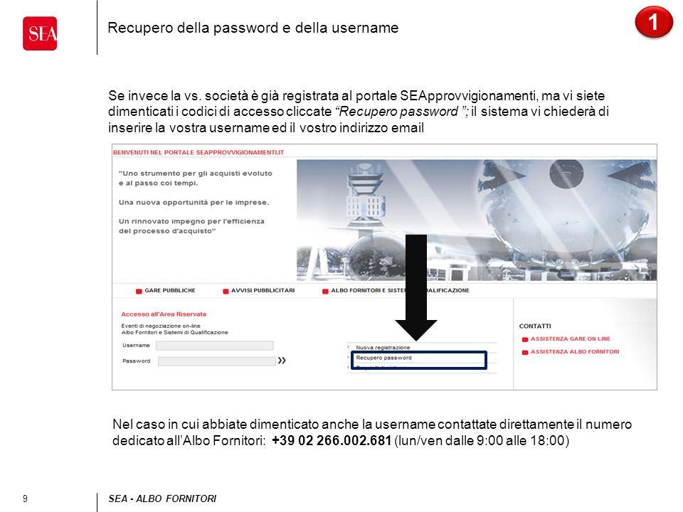 Recupero della password e della username
