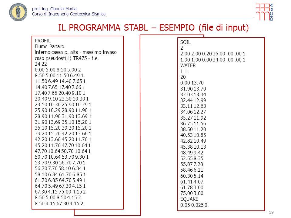 IL PROGRAMMA STABL – ESEMPIO (file di input)