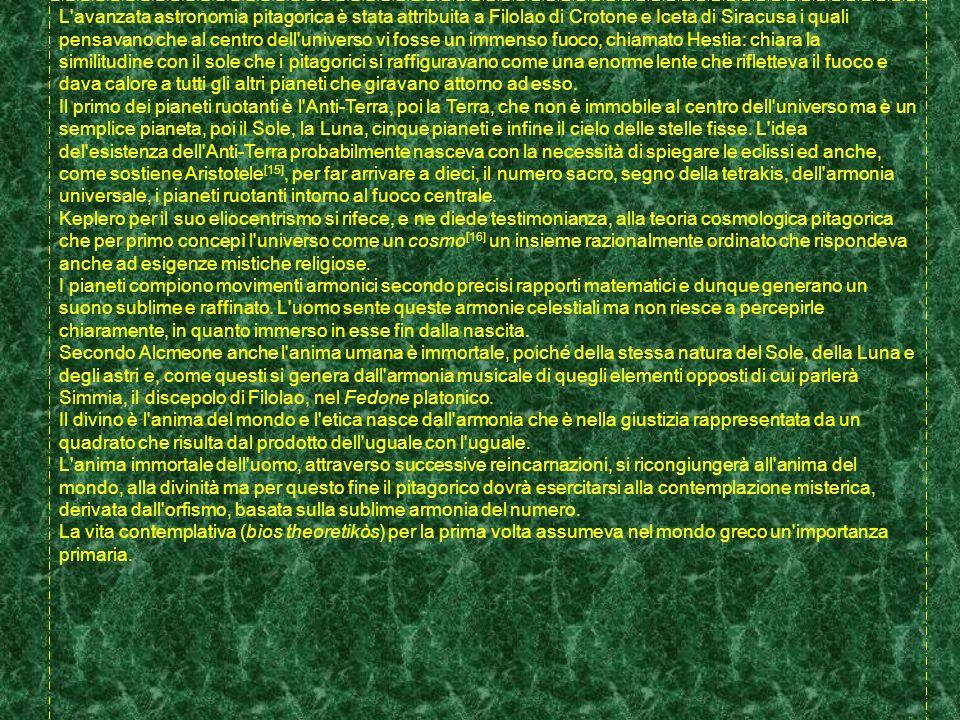 L avanzata astronomia pitagorica è stata attribuita a Filolao di Crotone e Iceta di Siracusa i quali pensavano che al centro dell universo vi fosse un immenso fuoco, chiamato Hestia: chiara la similitudine con il sole che i pitagorici si raffiguravano come una enorme lente che rifletteva il fuoco e dava calore a tutti gli altri pianeti che giravano attorno ad esso.