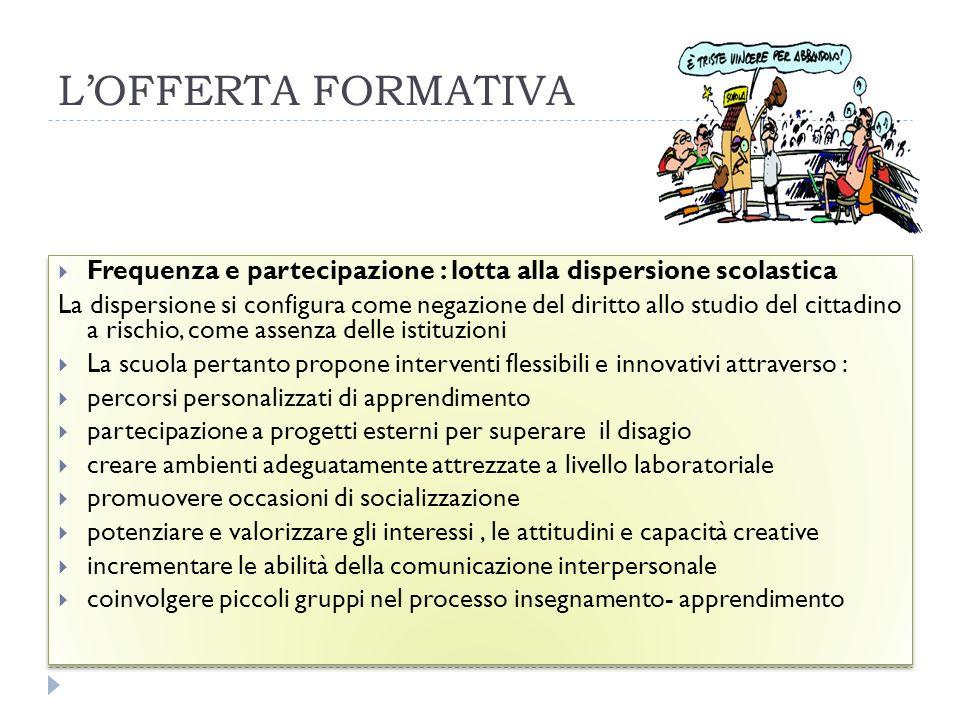 L'OFFERTA FORMATIVA Frequenza e partecipazione : lotta alla dispersione scolastica.