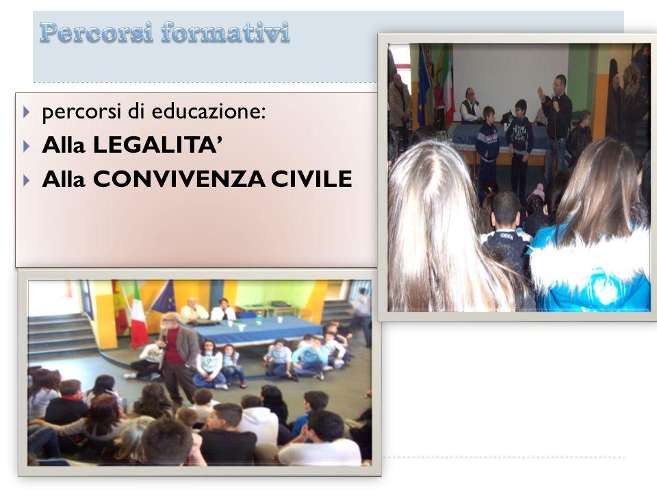 Percorsi formativi percorsi di educazione: Alla LEGALITA'