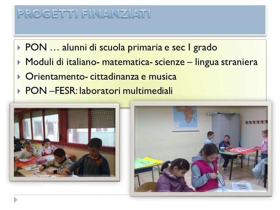 PROGETTI FINANZIATI PON … alunni di scuola primaria e sec I grado