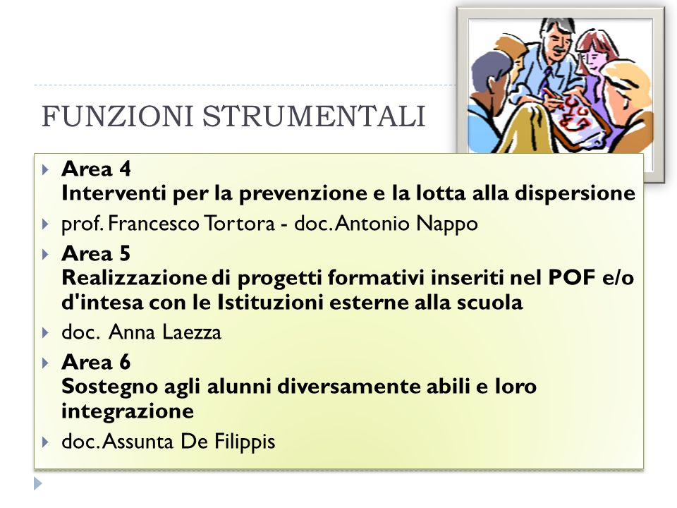 FUNZIONI STRUMENTALI Area 4 Interventi per la prevenzione e la lotta alla dispersione. prof. Francesco Tortora - doc. Antonio Nappo.
