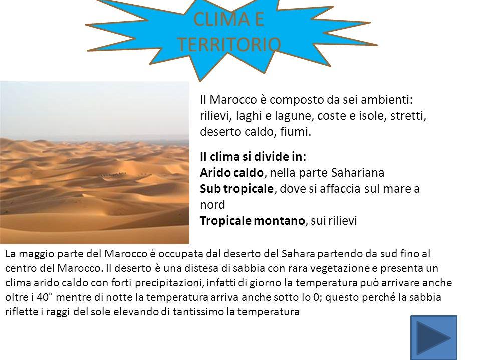 CLIMA E TERRITORIO Il Marocco è composto da sei ambienti: rilievi, laghi e lagune, coste e isole, stretti, deserto caldo, fiumi.