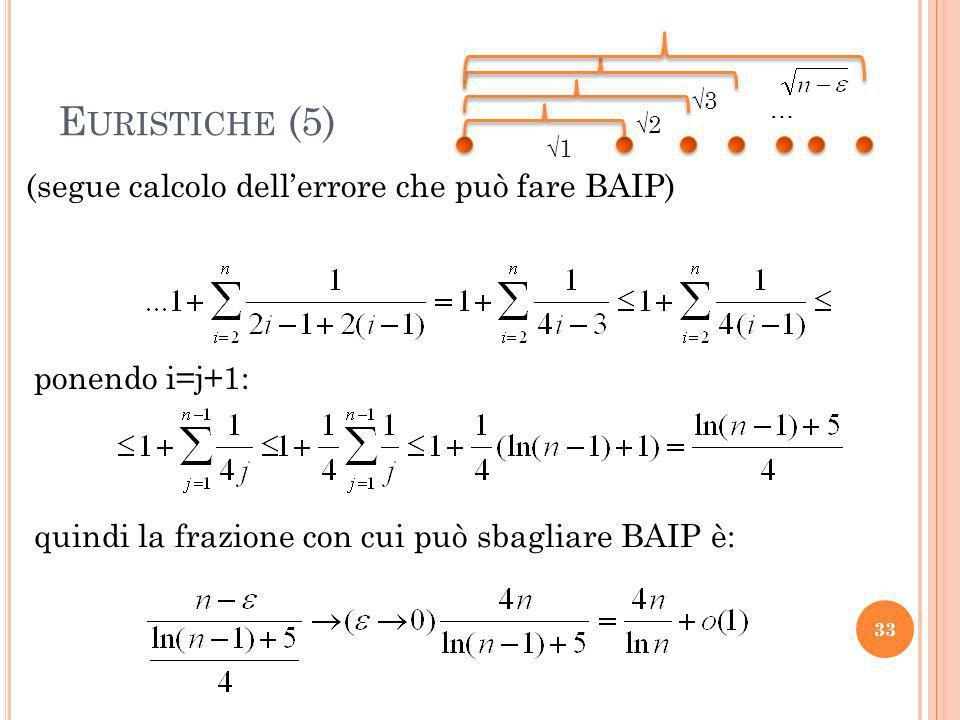 Euristiche (5) (segue calcolo dell'errore che può fare BAIP)
