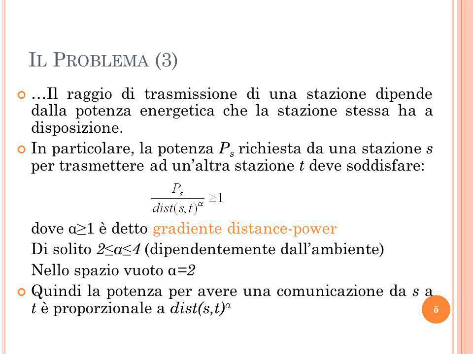Il Problema (3) …Il raggio di trasmissione di una stazione dipende dalla potenza energetica che la stazione stessa ha a disposizione.