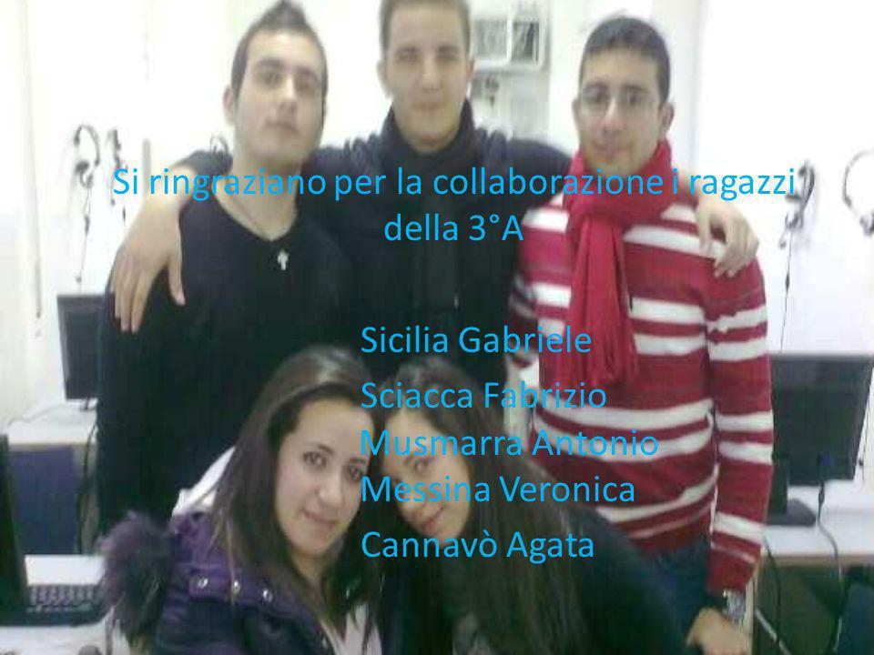 Si ringraziano per la collaborazione i ragazzi della 3°A Sicilia Gabriele Sciacca Fabrizio Musmarra Antonio Messina Veronica Cannavò Agata